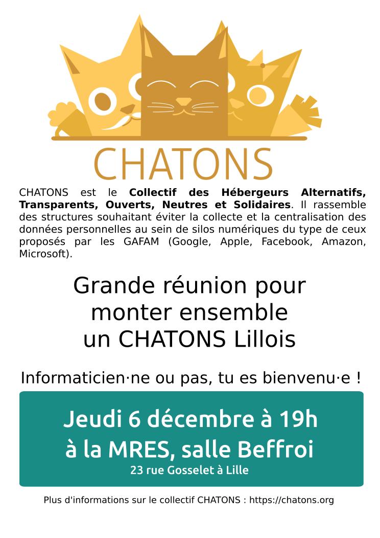 Affiche deuxième réunion CHATONS Lille